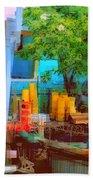 Backyard In Bright Colors Beach Towel