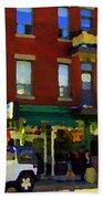Bagels And Tea St Viateur Bakery And Davids Tea Room Montreal City Scenes Art Carole Spandau Beach Towel