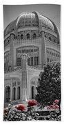 Bahai Temple Wilmette In Black And White Beach Towel