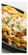 Baked Pasta With Meat And Cheese Beach Towel