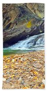 Balanced River Rocks At Birdrock Waterfalls Filtered Beach Towel