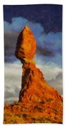 Balanced Rock At Sunset Digital Painting Beach Towel