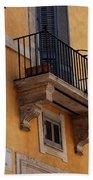 Balcony Piazza Della Madallena In Roma Beach Towel