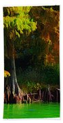 Bald Cypress 3 - Digital Effect Beach Towel