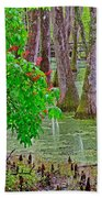 Bald Cypress And Red Buckeye Tree At Mile 122 Of Natchez Trace Parkway-mississippi Beach Towel