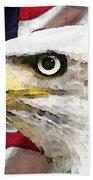 Bald Eagle Art - Old Glory - American Flag Beach Towel