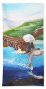 Bald Eagle Having Dinner Beach Towel