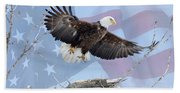 Bald Eagle Touch Of Pride Beach Towel