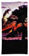 Bali Sunset Impasto Paint Version Beach Towel