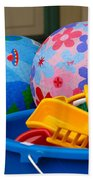 Balls And Toys In Buckets Beach Towel