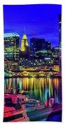 Baltimore Harbor By Night, Baltimore Beach Towel