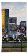 Baltimore Harbor Skyline Panorama Beach Towel
