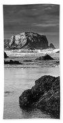 Bandon Sea Stacks Black And White Beach Towel