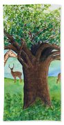 Baobab And Giraffe Beach Towel