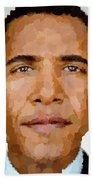 Barack Obama Beach Towel by Samuel Majcen