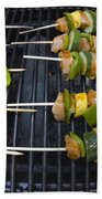 Barbeque Kabobs On Grill Beach Towel