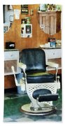 Barber - Barber Shop One Chair Beach Towel by Susan Savad