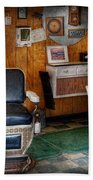 Barber - Frenchtown Nj - Two Old Barber Chairs  Beach Towel by Mike Savad