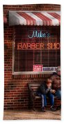 Barber - Metuchen Nj - Waiting For Mike Beach Towel by Mike Savad
