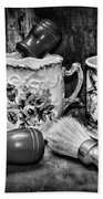 Barber - Shaving Mugs And Brushes In Black And White Beach Towel