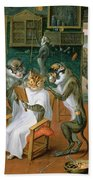 Barbers Shop With Monkeys And Cats Oil On Copper Beach Towel