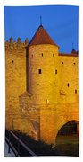 Barbican At Night In The Old Town Of Warsaw Beach Towel