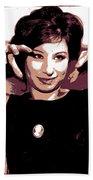 Barbra Streisand - Brown Pop Art Beach Towel