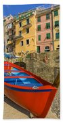 Barca Rossa A Rio Maggiore Beach Towel