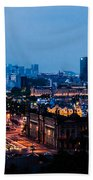 Barcelona At Night  Beach Towel