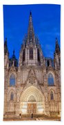 Barcelona Cathedral At Night Beach Towel