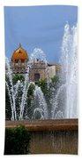 Barcelona Fountain Placa De Catalunya Beach Towel