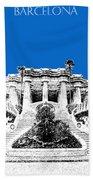 Barcelona Skyline Park Guell - Blue Beach Towel