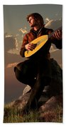 Bard With Lute Beach Towel