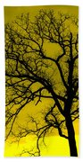 Bare Tree Against Yellow Background E88 Beach Towel