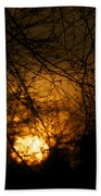 Bare Tree Branches With Winter Sunrise Beach Towel