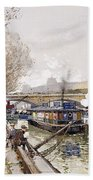 Barges On The Seine Beach Towel by Eugene Galien-Laloue
