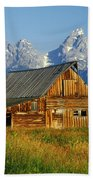 1m9394-barn And The Tetons Beach Towel