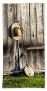 Barn Door And Banjo Mandolin Beach Towel by Bill Cannon