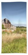 Barn In A Field With Hay Bales Beach Towel