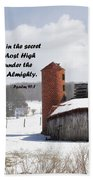 Barn In Winter With Psalm Scripture Beach Towel