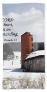 Barn In Winter With Scripture Beach Towel