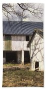 Barn Near Utica Mills Covered Bridge Beach Towel