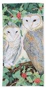 Barn Owls Beach Towel by Suzanne Bailey