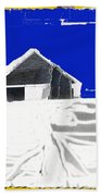 Barn Snow Storm Rc Guss Photo 1951 Collage St. Paul Park Minnesota Color Drawing Added Beach Towel