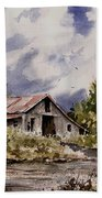 Barn Under Puffy Clouds Beach Towel
