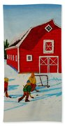 Barn Yard Hockey Beach Towel