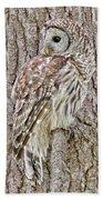 Barred Owl Camouflage Beach Towel