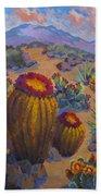 Barrel Cactus In Warm Light Beach Towel