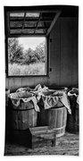 Barrels Of Beans - Bw Beach Towel