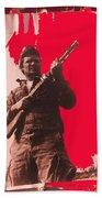 Barry Sadler Machine Gun Authentic Ww2 Africa Korps Hat Camouflage Clothes Collage Tucson 1971-2012 Beach Towel